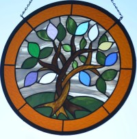 Custom Stained Glass Hanging Art with Birthstone ...