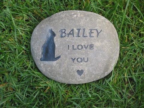 cat pet memorial stone