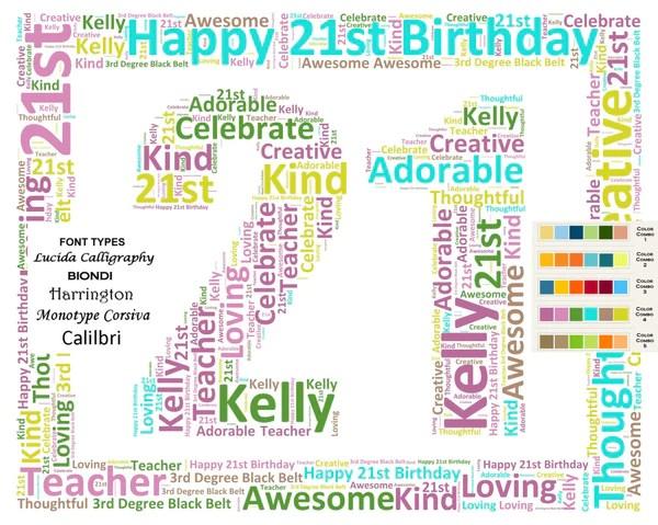 Personalized 21st Birthday Gift 21st Birthday Word Art 8 X