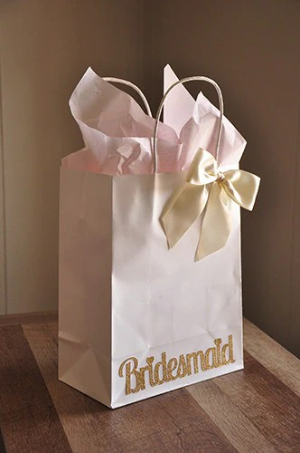 Bridesmaid Gift Bags Large White Paper Bags With Handle