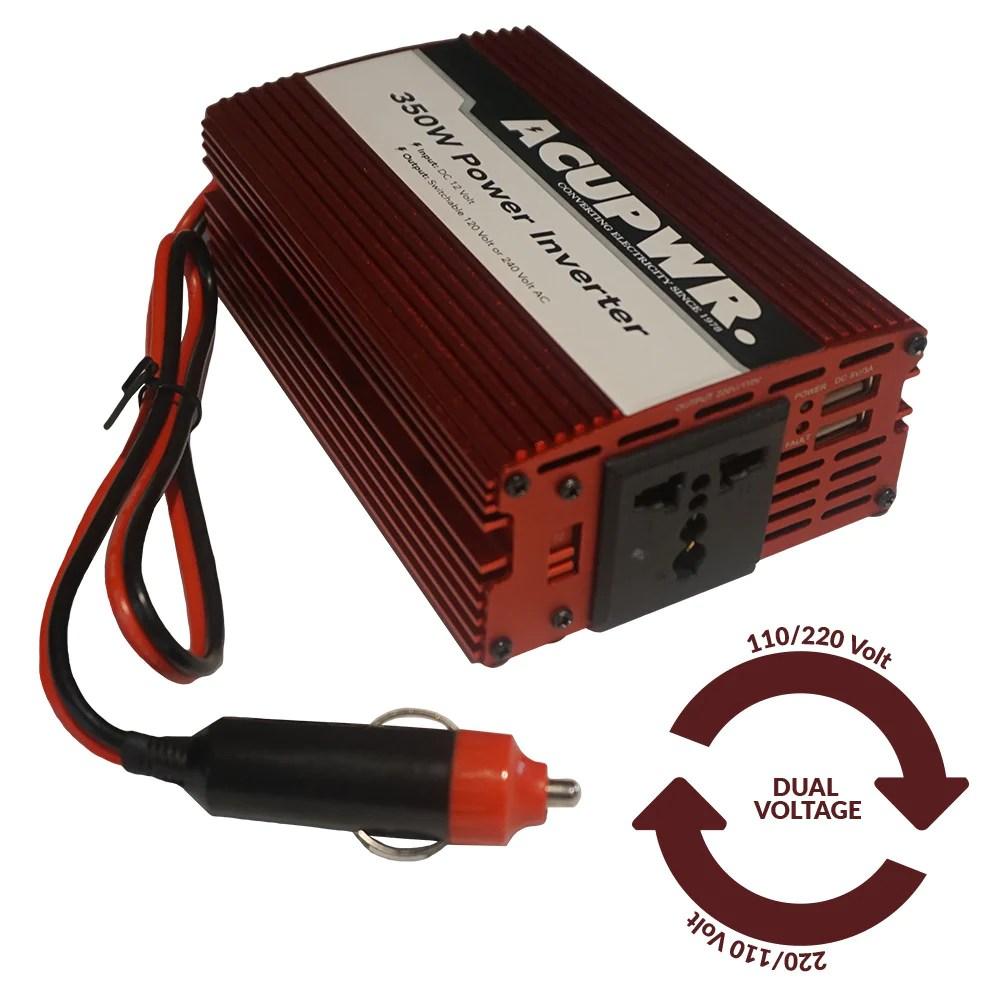 350 watt travel car power inverter converts 12 volts dc to 110 or 240 [ 1000 x 1000 Pixel ]