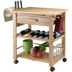 Portable Kitchen Cart Home Depot Sinks Undermount Winsome Finland With Wine Rack Intrigue