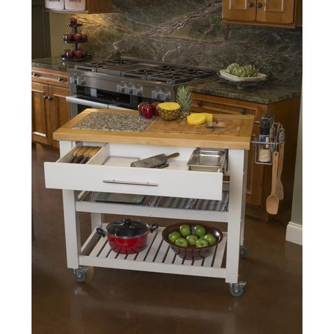 kitchen prep station free standing shelves chris pro chef island granite top white
