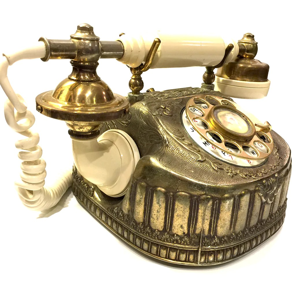 hight resolution of  vintage baroque bronze rotary telephone