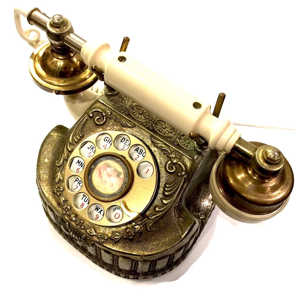 hight resolution of vintage baroque bronze rotary telephone tap to expand
