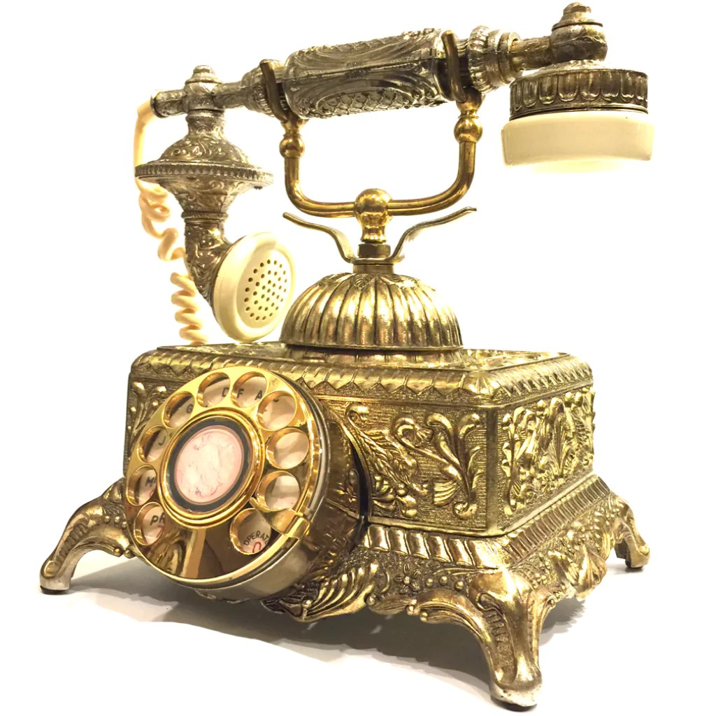 vintage ornate french victorian rotary telephone [ 1024 x 1024 Pixel ]