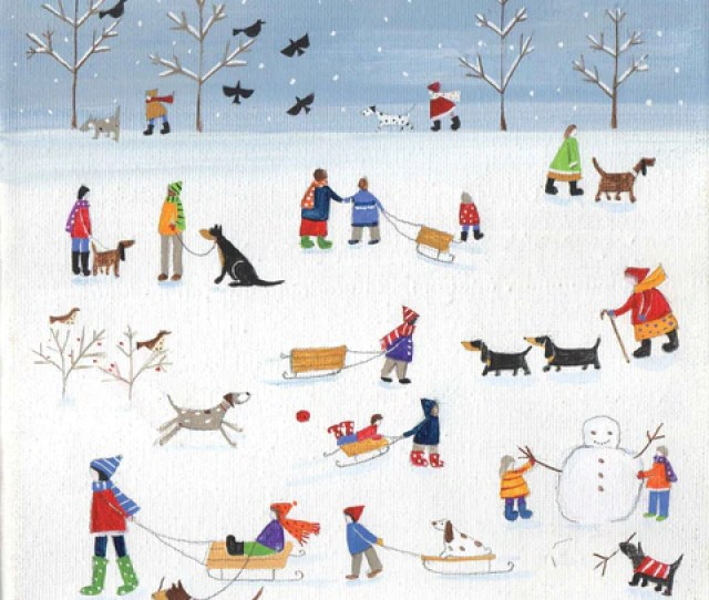 Christmas Card Pack By Louise Rawlings Dogs And People In The Snow