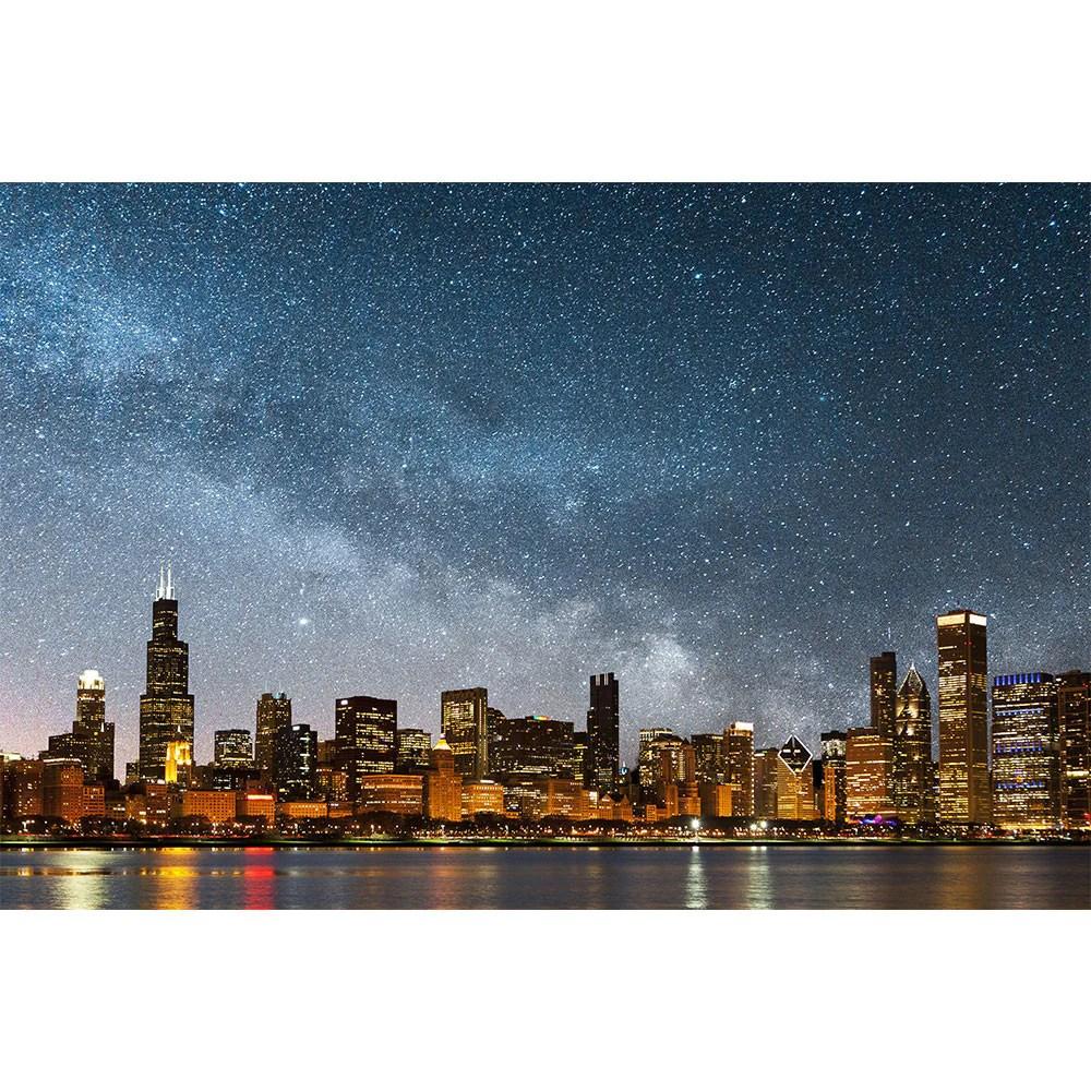 bright chicago skyline stars