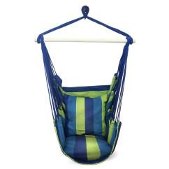 White Bohemian Hanging Chair Gaming Rocker Blue Green Boho Cushioned Hammock