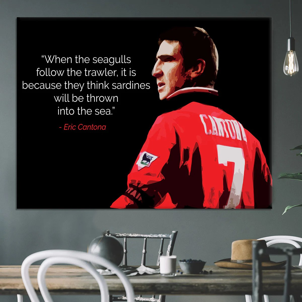 I have a lot of good moments but the one i prefer is when i kicked the hooligan. in just six seasons in english football. Eric Cantona Seagulls Canvas Print Or Poster Canvas Art Rocks