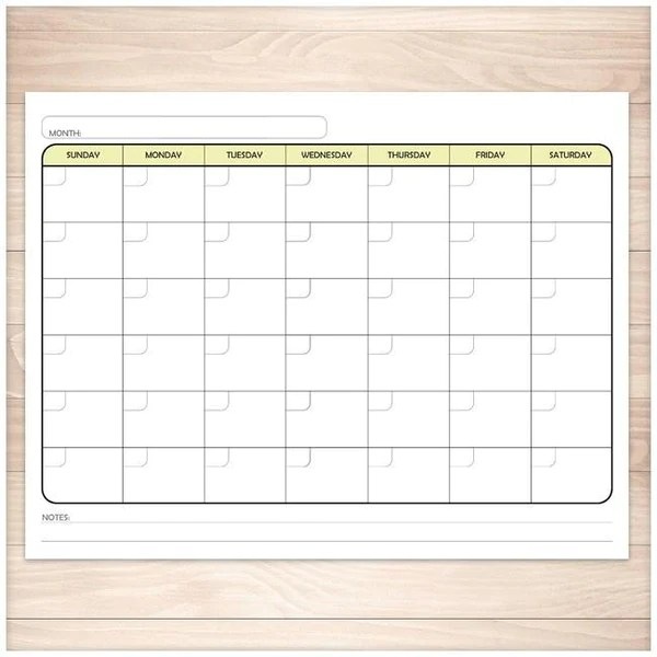 Print as many calendars as you want on your personal computer. Modern Blank Monthly Calendar - 6 Full Page BUNDLE ...