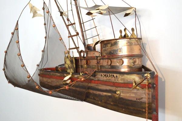 C Jere Mid Century Modern Copper Ship Sculpture