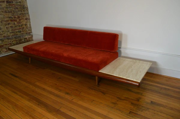 Adrian Pearsall for Craft Associates Gondola Sofa with Travertine End  GalaxieModern