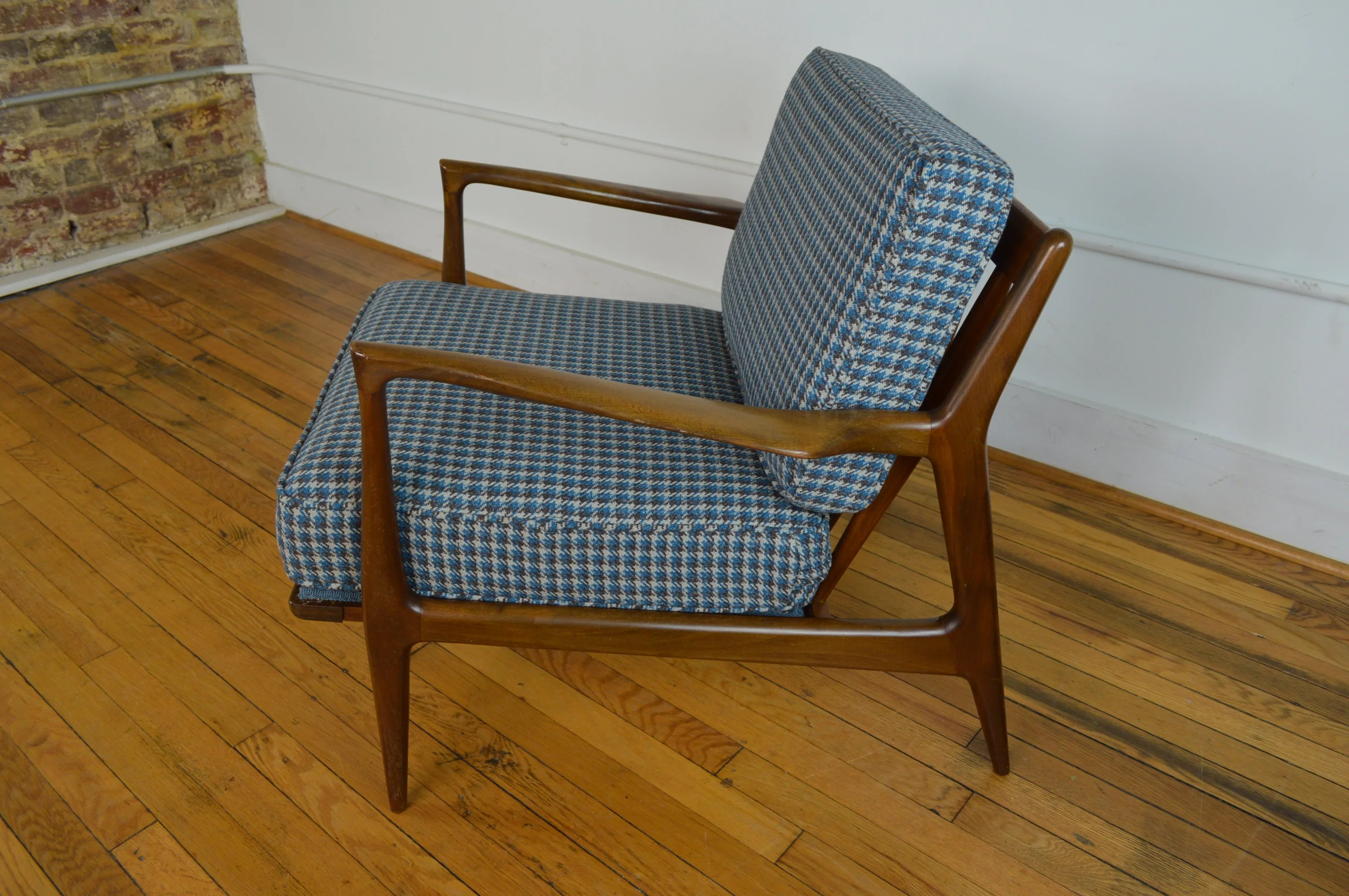 Selig Chair Ib Kofod Larsen For Selig Danish Lounge Chair In Houndstooth Wool