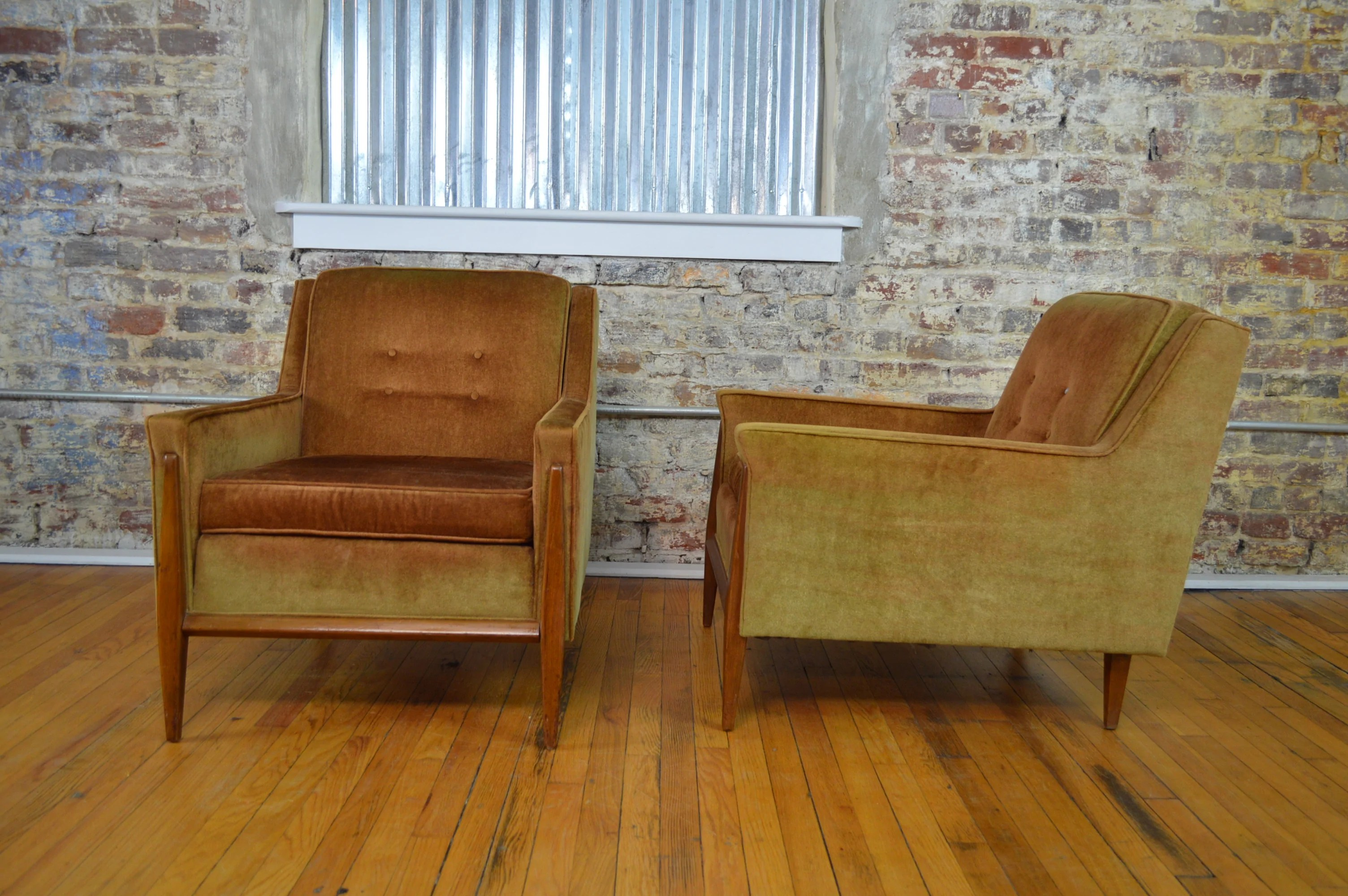 Paul Mccobb Chairs Paul Mccobb Style Mid Century Modern Velvet Lounge Chairs