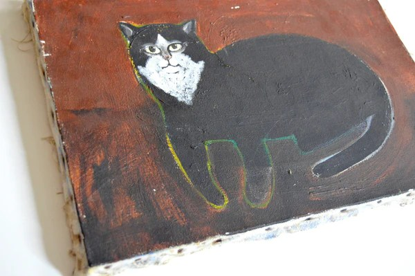 Folk Art Cat Painting By Paul Kitchin Mid Century Modern