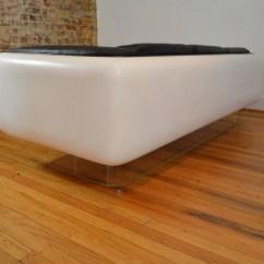 Steelcase Sofa Platner Cream Leather Dye Space Age Modern Galaxiemodern