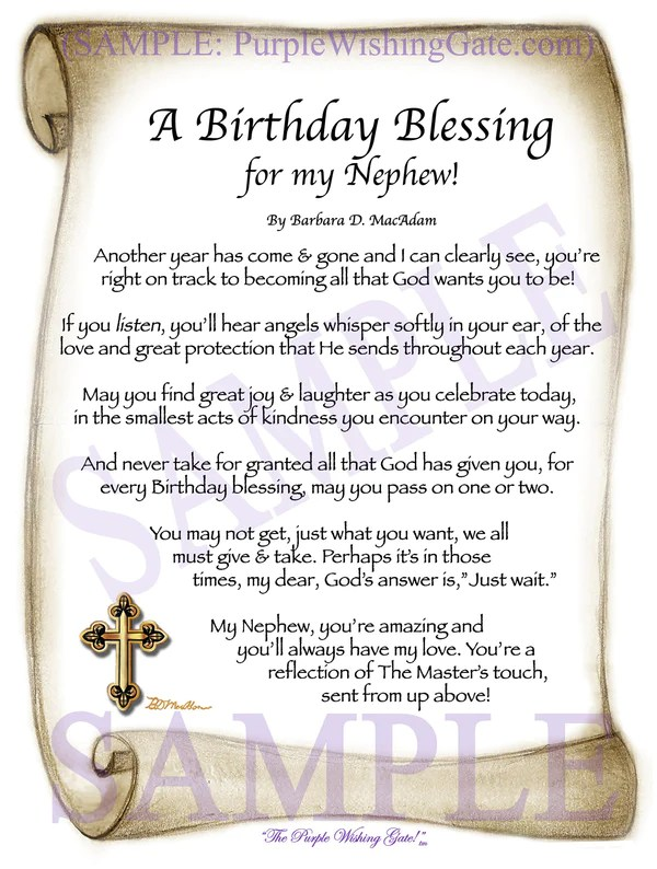 NEPHEW'S BIRTHDAY BLESSING Framed Personalized Gifts