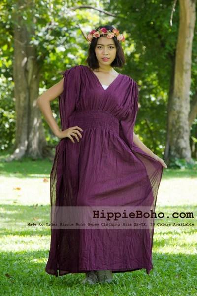 No13  Size XS5X Hippie Boho Caftan Purple Maxi Dresses Womens Plus Size Clothing Bohemian