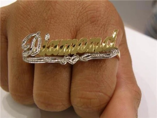 Personalized 14k Gold Plate Silver 2 Finger Any Name Ring  MyFancyBoutique
