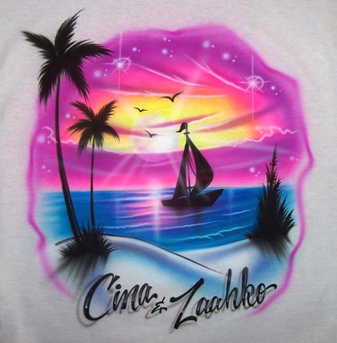 Beach Scene With Sailboat & Couple' Names Airbrushed T