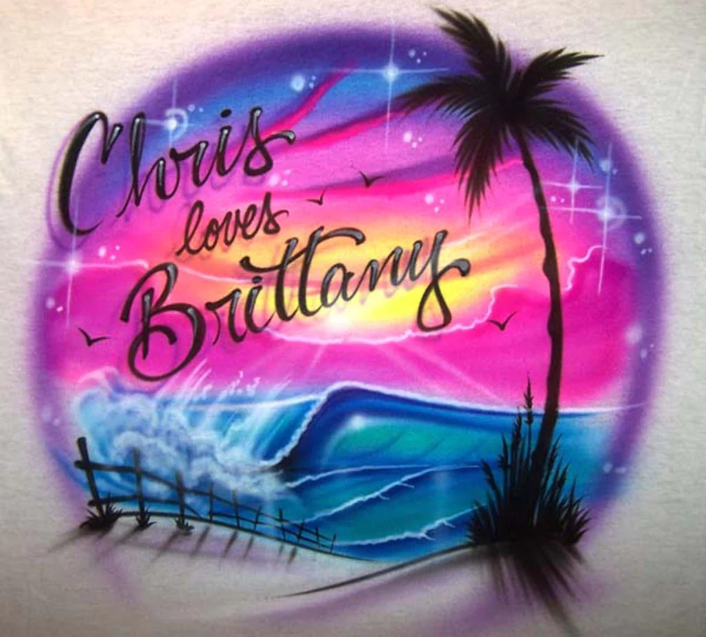 Airbrushed Double Names & Love Design Couples