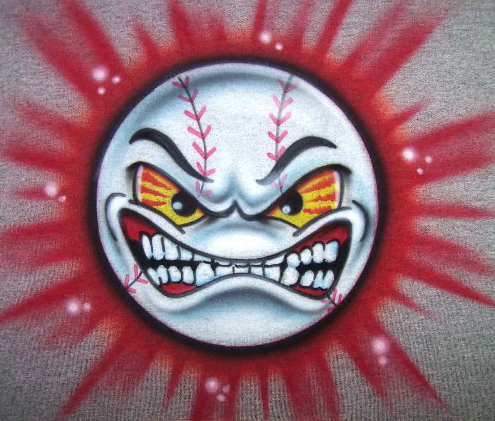 airbrushed angry face baseball