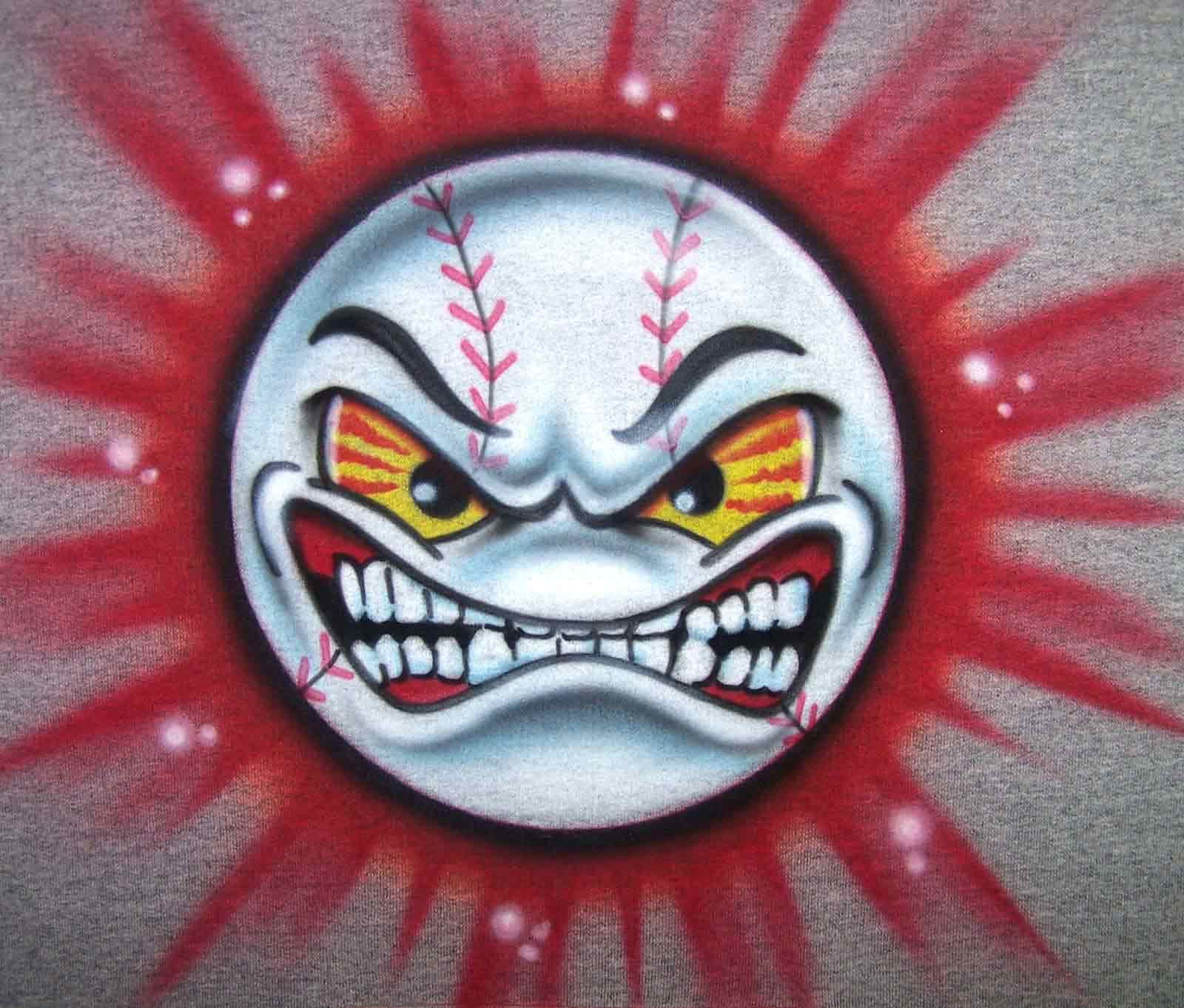 Airbrushed Angry Face Baseball Personalized Shirt