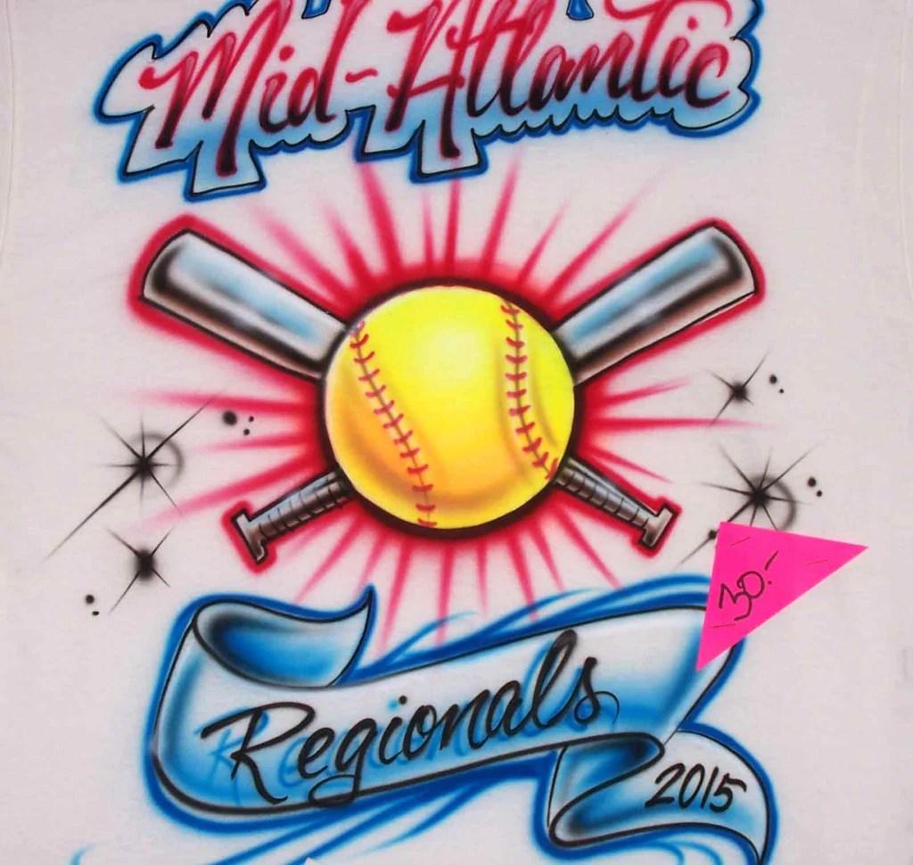 Custom Airbrushed Softball & Baseball Shirt Design