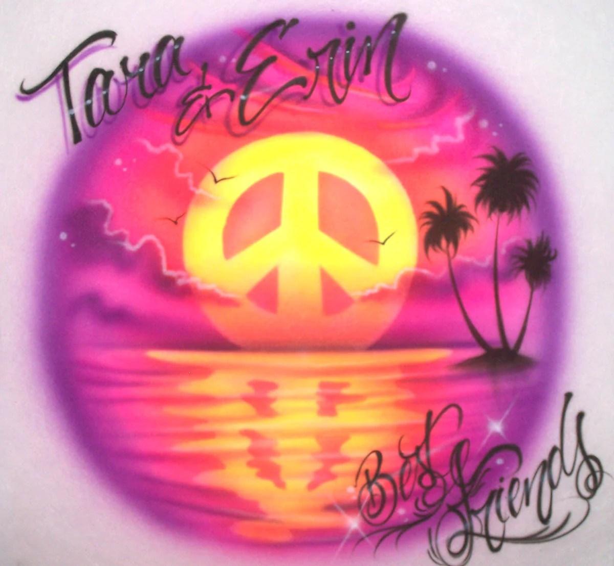 Friends Beach Scene & Peace Sign Sunset Airbrushed Design