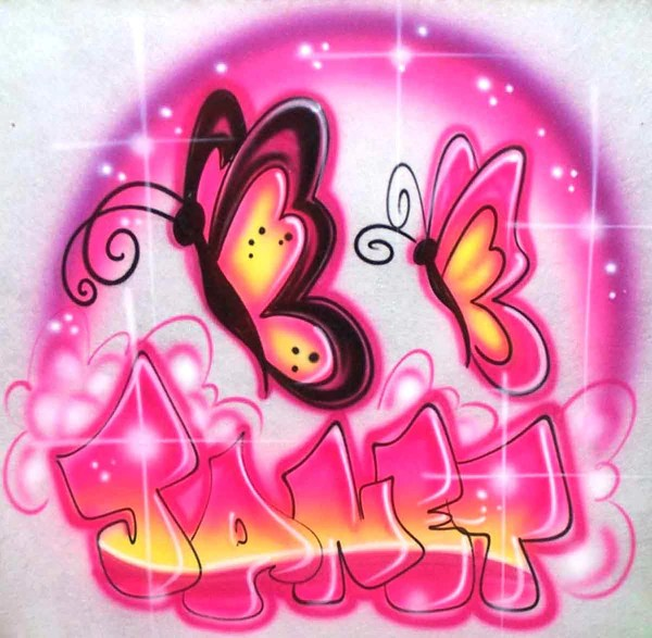 Motorcycle Girl Wallpaper Butterflies And Personalized Bubble Letter Name Airbrushed