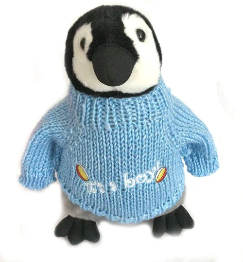 Its A Boy Plush Penguin In Sweater 10 Tall  Penguin