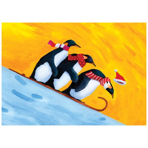 Sledding Penguins Christmas Card Penguin Gift Shop