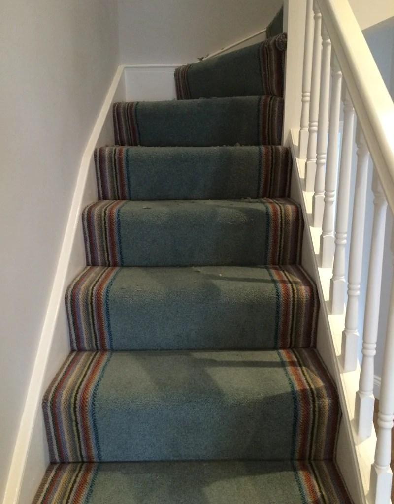 Brintons Carpets Bell Twist Aquatint With Nordic Stripe Border | Stair Carpet With Border | Stairway | Design | Stair Runner Matching Landing | Runner | Cream