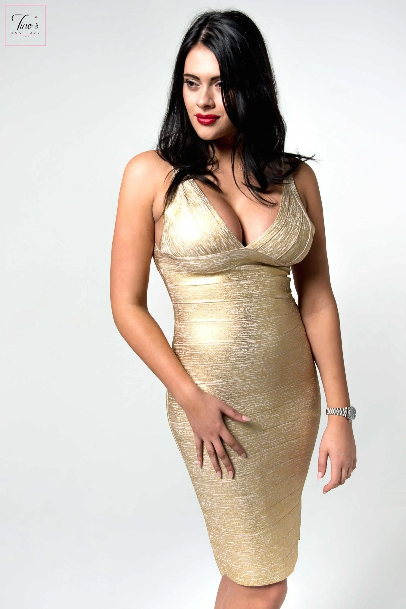 'erienne' Gold Foil Effect Crossover Bandage Dress - Tino