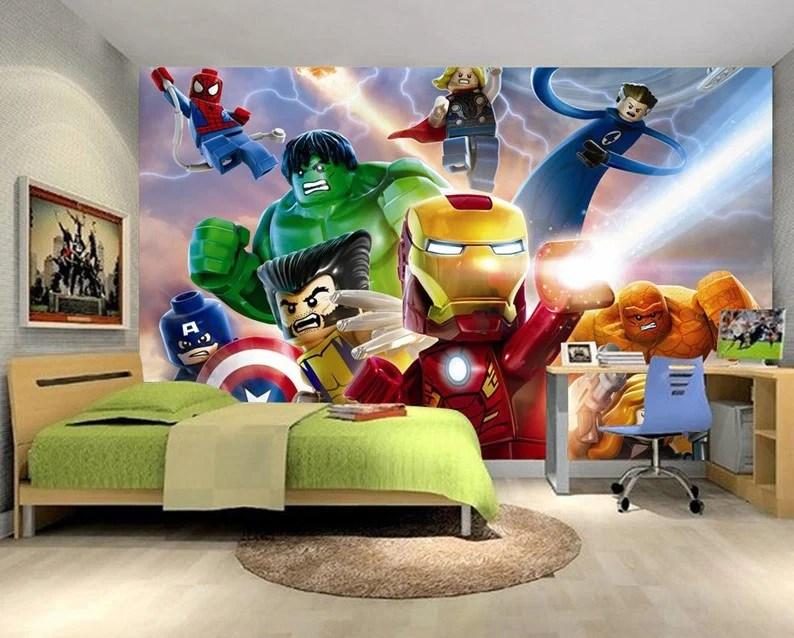 3d Wallpaper For Kid Bedroom 3d Lego Movie Cartoon Hulk Iron Man Captain America