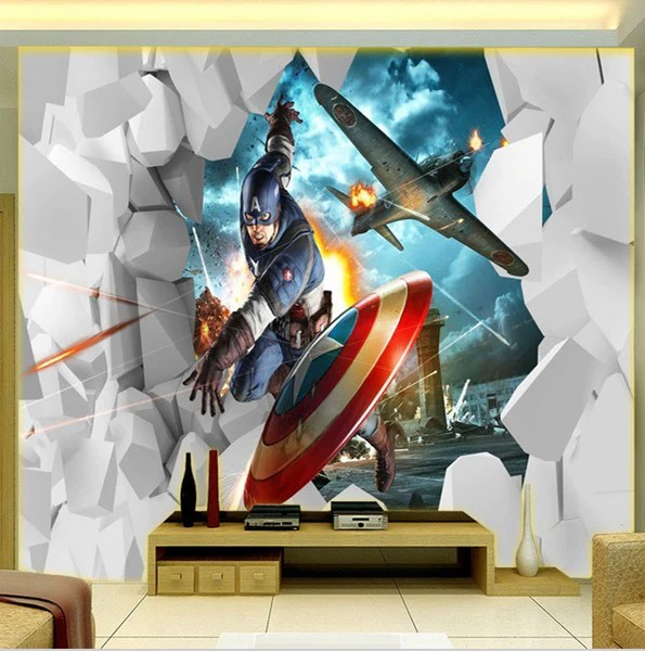 Animal Print Wallpaper For Walls 3d Captain America First Avenger Superhero Embossed