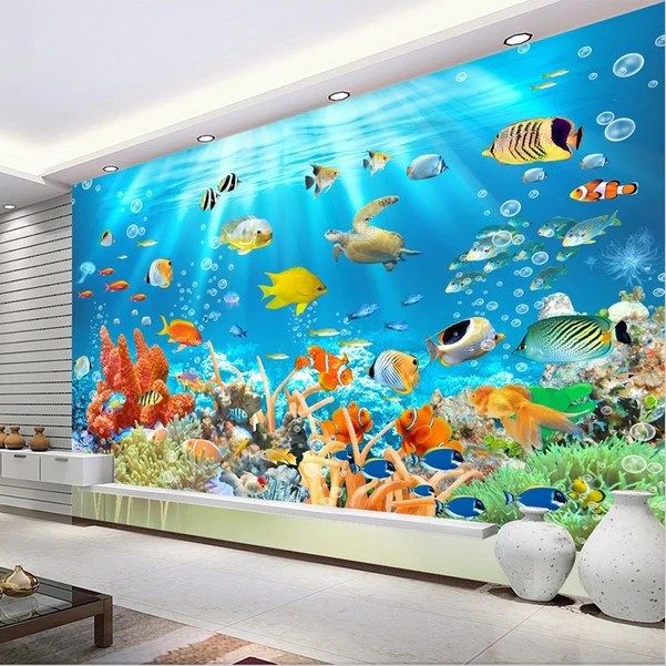 Animal Wallpaper For Kids Bedrooms 3d Underwater World Ocean Fish And Coral Photo Wallpaper