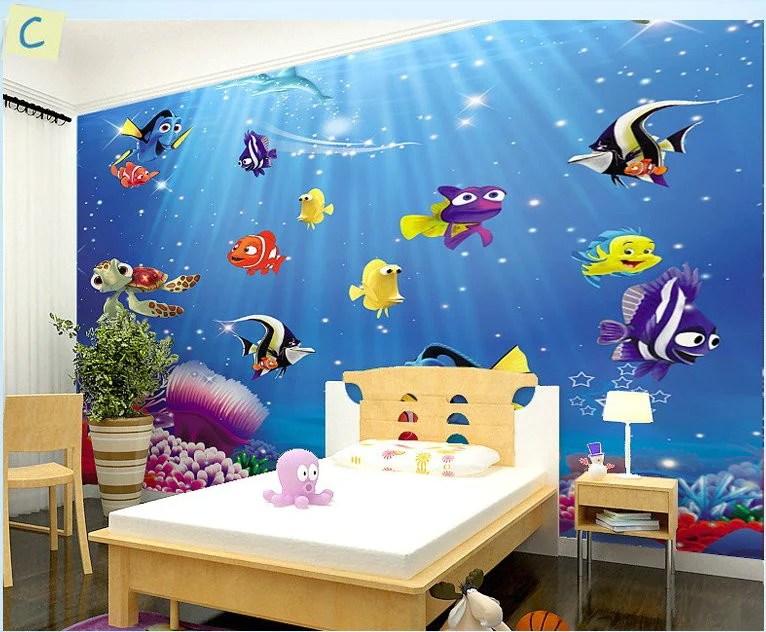 Disney Cartoon Characters Wallpapers In 3d Dory Nemo Cartoon Fish Wallpaper Wall Mural Kids Wallpaper