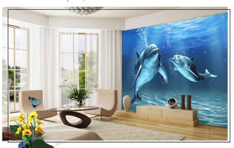 All Type 3d Wallpapers 3d Underwater Ocean Dolphins Wallpaper For Walls Marine