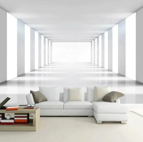 3d Brick Mural Wallpaper Modern 3d White Room Illusion Expansion Wallpaper Stylish