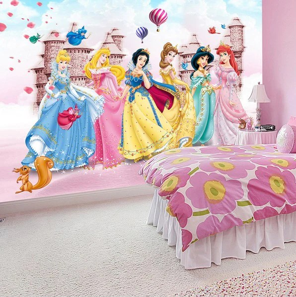 Animal Print Wallpaper For Bedrooms 3d Princess Castle Cartoon Wallpaper For Children S