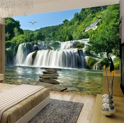 3d waterfall stones lake