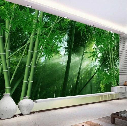 3d Fall Ceiling Wallpaper 3d Bamboo Forest Sunlight Shining Through Trees Wallpaper