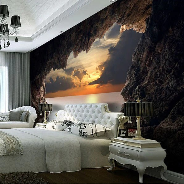 3d Stereoscopic Mural Wallpaper 3d Custom Photo Cave Opening Sunrise Sea Wallpaper