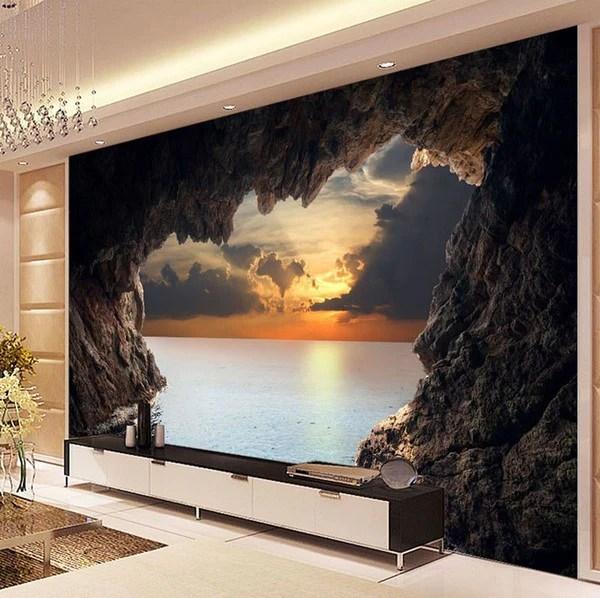 3D Custom Photo Cave Opening Sunrise Sea Wallpaper
