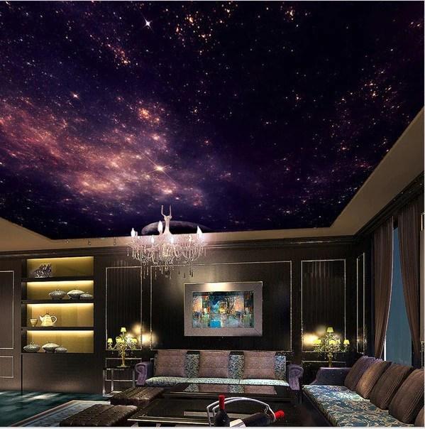 Animal Print Wallpaper For Bedrooms 3d Star Nebula Ceiling Wallpaper Night Sky Stars Galaxy