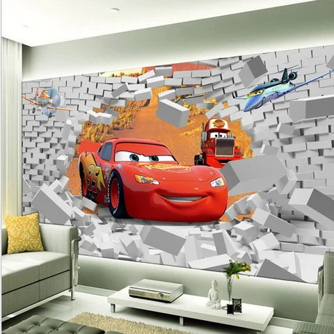 We earn a commission for products purchased through some links in this article. Cars Lightning Mcqueen Cartoon High Quality 3d Wallpaper Wall Art Mural Beddingandbeyond Club