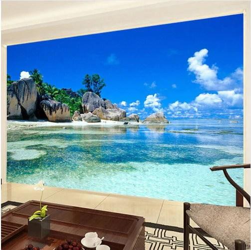 3d Tropical Beach Island Wallpaper for Walls Wall Mural