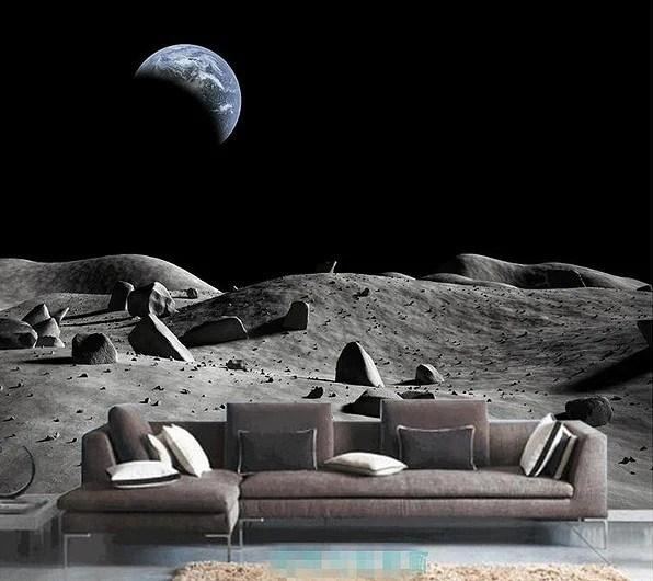 3d Wallpaper For Kid Bedroom 3d Moon Surface Earth View Custom Wallpaper Mural For Home